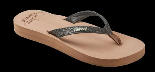 REEF WOMENS FLIP FLOPS.STAR CUSHION GLITTER CROCODILE FAUX LEATHER THONGS 8S 84